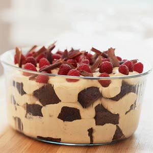 Chocolate Caramel Trifle with Rasberries