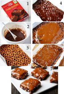 Salted Pretzel Fudge and Caramel Brownies