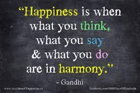 Happiness is when what you say, think, do are in harmony